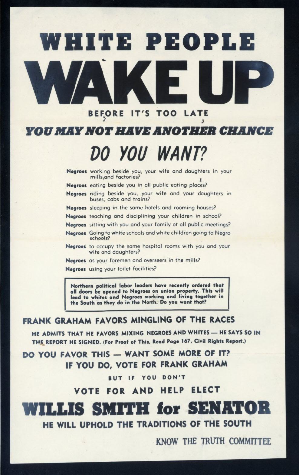 "This is an image of a poster from the 1950 senate campaign that begins with ""White people, wake up."""