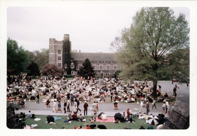 During the silent vigil at Duke University following Dr. King's assassination, students sat on the Chapel Quad for days, and university food services and housekeeping employees went on strike.