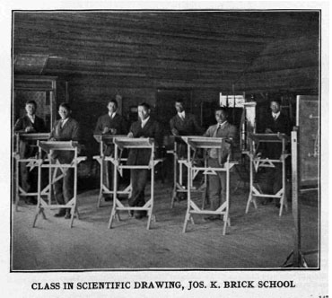 Image of scientific drawing class at the Brick School, ca. 1910. From <i>Era of progress and promise, 1863-1910 : the religious, moral, and educational development of the American Negro since his emancipation</i>. The Clifton Conference. Boston: Priscilla Publishing Co., 1910. From the collection of the N.C. Government & Heritage Library.