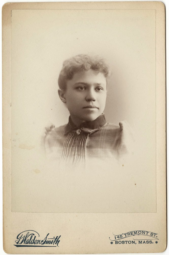 Cabinent card photograph of Dixie Lee Bryant, taken at the G. Walden Smith Art Studio in Boston in 1891. This image is from Bryant's scrapbook and courtesy of University of North Carolina at Greensboro's University Archives.