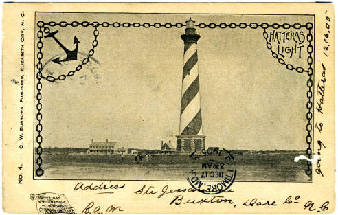 Postcard image of Hatteras Lighthouse, ca. 1905. From NC Postcards, UNC-Chapel Hill.