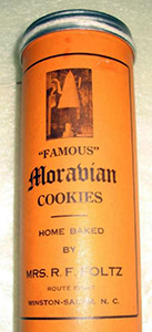 Moravian Cookies canister, ca. 1970s. Item H.1971.24.5, from the collection of the North Carolina Museum of History. Used courtesy of the North Carolina Department of Natural and Cultural Resources.