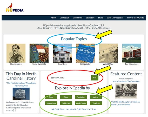 NCpedia home page search features