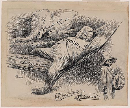 "This is an image of a cartoon. Cartoon shows Congress as a fat man asleep in a hammock labeled ""Law Enforcement."" A broken blunderbuss, labeled ""14th Amendment, 2nd Section,"" lies at his feet. A small black boy walks by holding a drum, but an elephant cautions, ""Don't wake him up!"""