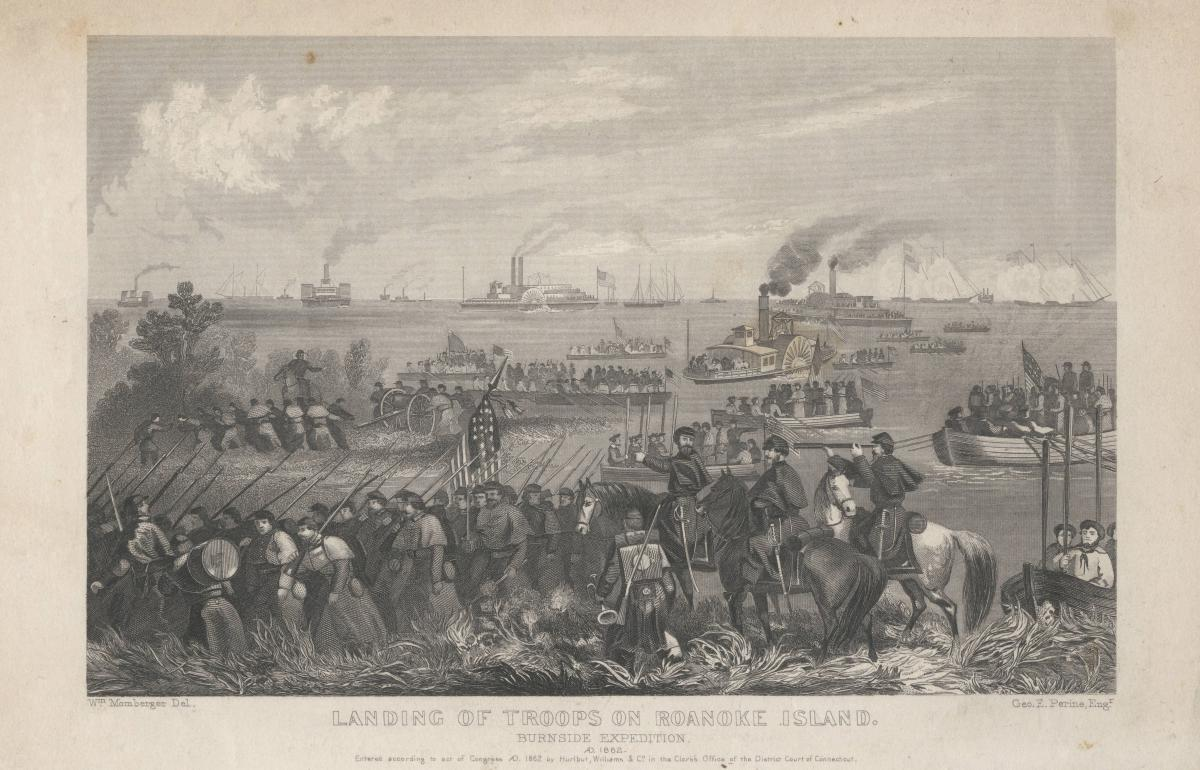 The Burnside Expedition -- arrival of the naval and military expedition to North Carolina, under Commodore Goldsborough and General Burnside, at Hatteras Inlet, N.C., Jan. 17, 1862.