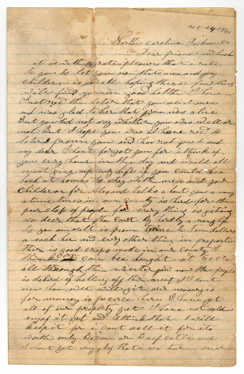 This is page one of a letter from Elizabeth Watson to her husband, James Watson during the Civil War.