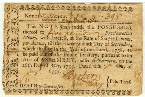Five pound treasury note from 1757
