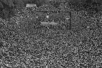 This is an aerial image of the marchers at the 1963 March on Washington. Image from the Library of Congress.