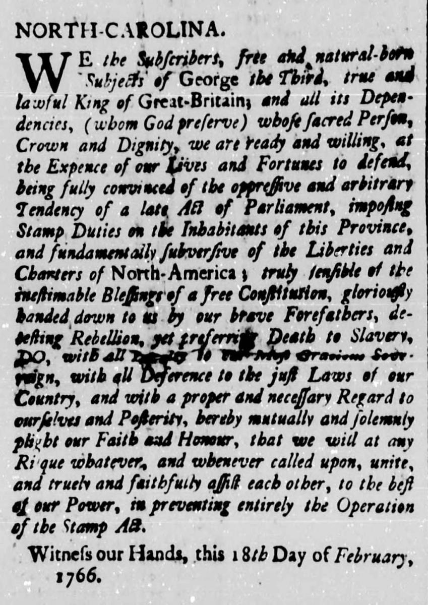Image of excerpt from the North-Carolina Gazette, February 26, 1766, showing the pledge of those who vowed to refuse to the pay the stamp tax. From the collection of the State Archives of N.C.