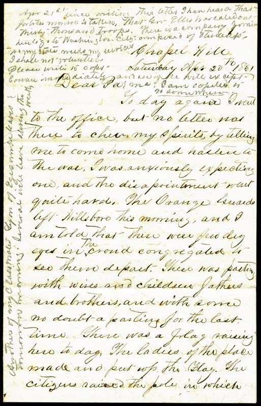 Original letter from Edward Armstrong to his father.