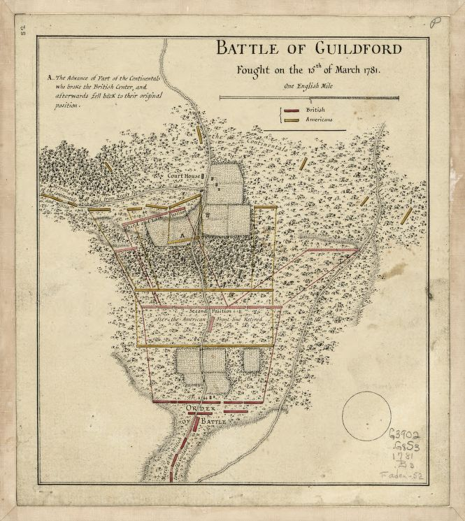 Battle of Guilford Fought on the 15th of March 1781. Map, from the collection of the Library of Congress.