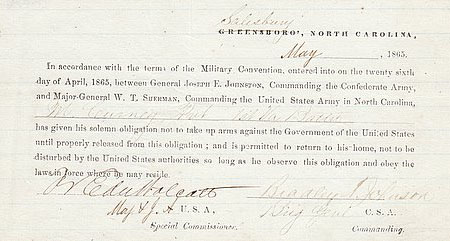 Civil War Parole Form