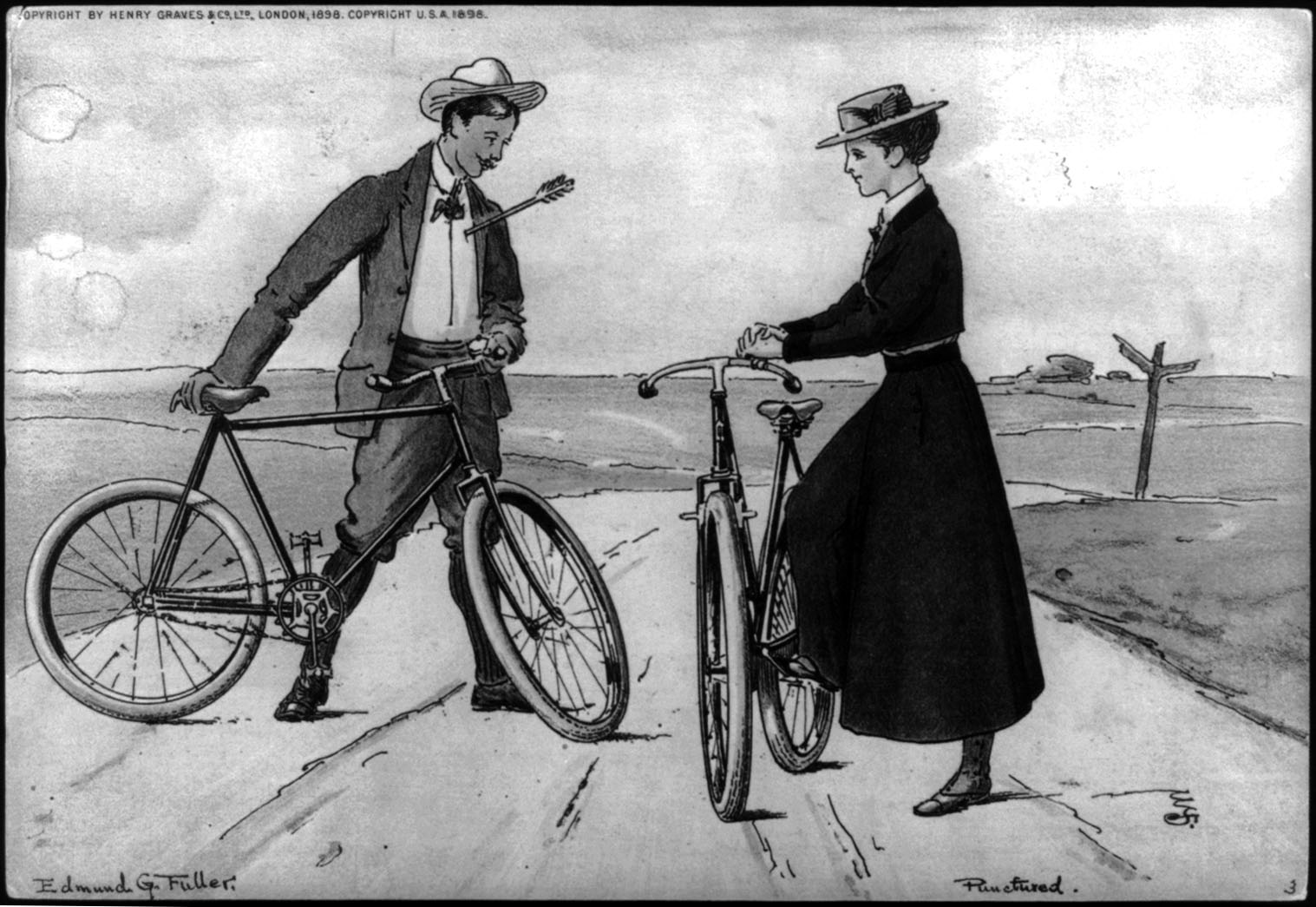 "Illustration titled ""Punctured"" shows a man with arrow in chest, on a road holding a bicycle, facing a woman with a bicycle."