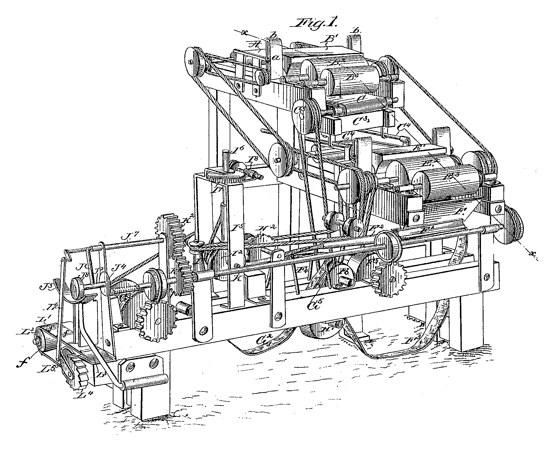 Drawing of the Bonsack Machine from patent application.