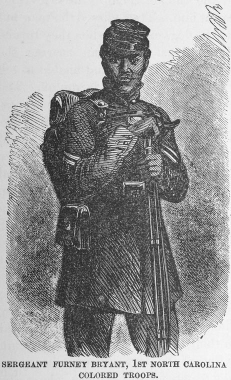 Sketch of Sergeant Furney Bryant, a man who escaped slavery and became a Union sergeant. Image from Colye's Brief Report, digitized by ECU.