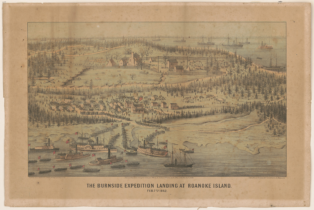 Illustrative print of the Burnside Expedition landing at Roanoke Island on February 7, 1862.