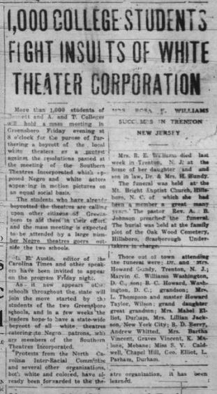 Image of a newspaper article from January 15, 1938 from the Carolina Times newspaper in Durham, NC, with the title: 1,000 college students fight insults of white theater corporation.