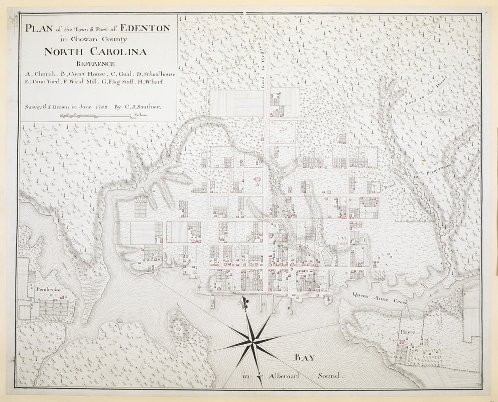 "Tryon commissioned this map, ""Plan of the Town & Port of Edenton in Chowan County North Carolina"" to be drawn in June 1768 by C.J. Sauthier. Click here for a larger version."