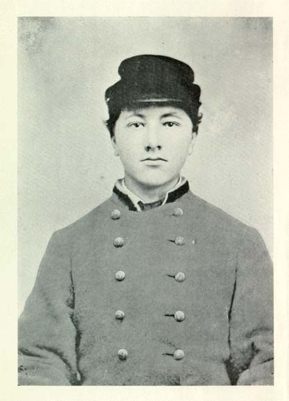 Portrait of young David E. Johnston in a confederate uniform.