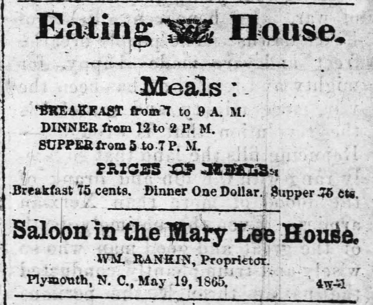 """Eating House,"" clipping from The Old Flag newspaper."