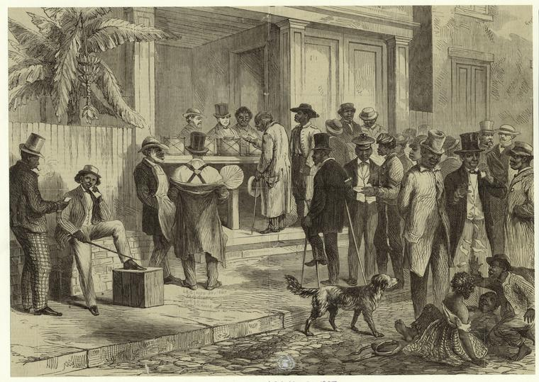 An 1867 engraving depicting freed African American men voting in New Orleans just after the Civil War.