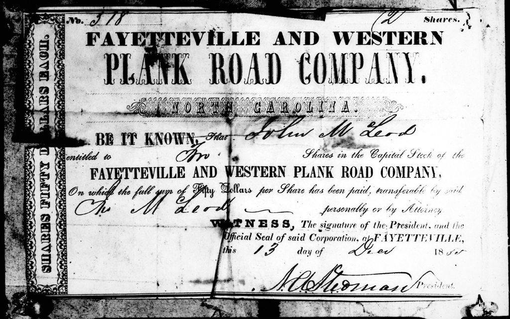 A share certificate from the Fayetteville and Western Plank Road, worth $50.