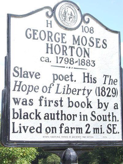 Highway Marker for George Moses Horton.