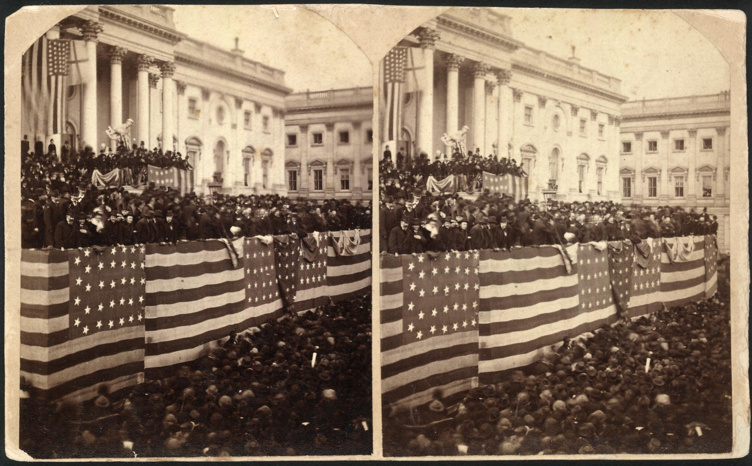Stereograph photo shows Chief Justice Morrison R. Waite administers the oath of office to Rutherford B. Hayes on a flag-draped inaugural stand on the east portico of the U.S. Capitol, March 4, 1877.