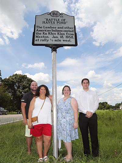 "Image of the highway historical marker near Maxton, NC commemorating the ""Battle of Hayes Pond."""