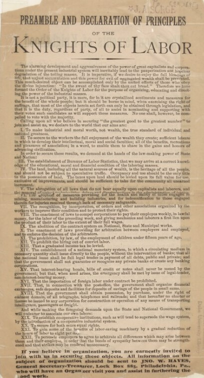 A broadside with the Knights of Labor preamble and declaration of principles.