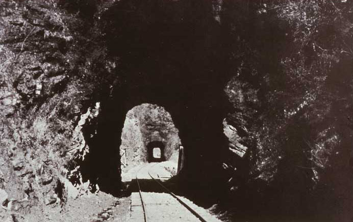 Historic Postcard of rail line through Licklog Tunnels