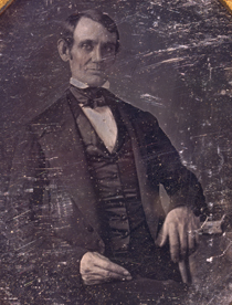 Detail from a daguerreotype believed to have been made by N. H. Shepard in Springfield, Illinois. It is the first known portrait of Lincoln, taken when he was elected to the U.S. House of Representatives in 1846. Courtesy of the Library of Congress.