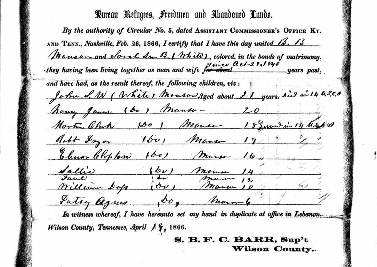 Marriage certificate issued by the Freedmen's Bureau for Sarah and B. B. Manson