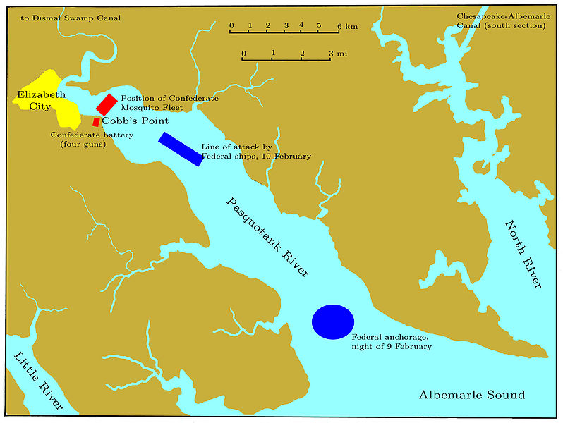 Map depicting the Battle of Elizabeth City which began on the Pasquotank River.