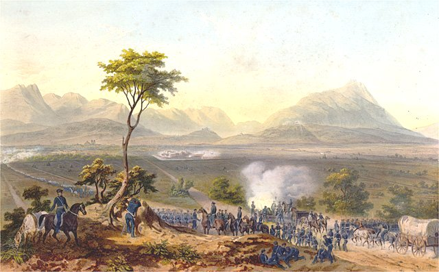 Lithograph depicting U.S. troops marching on Monterrey.