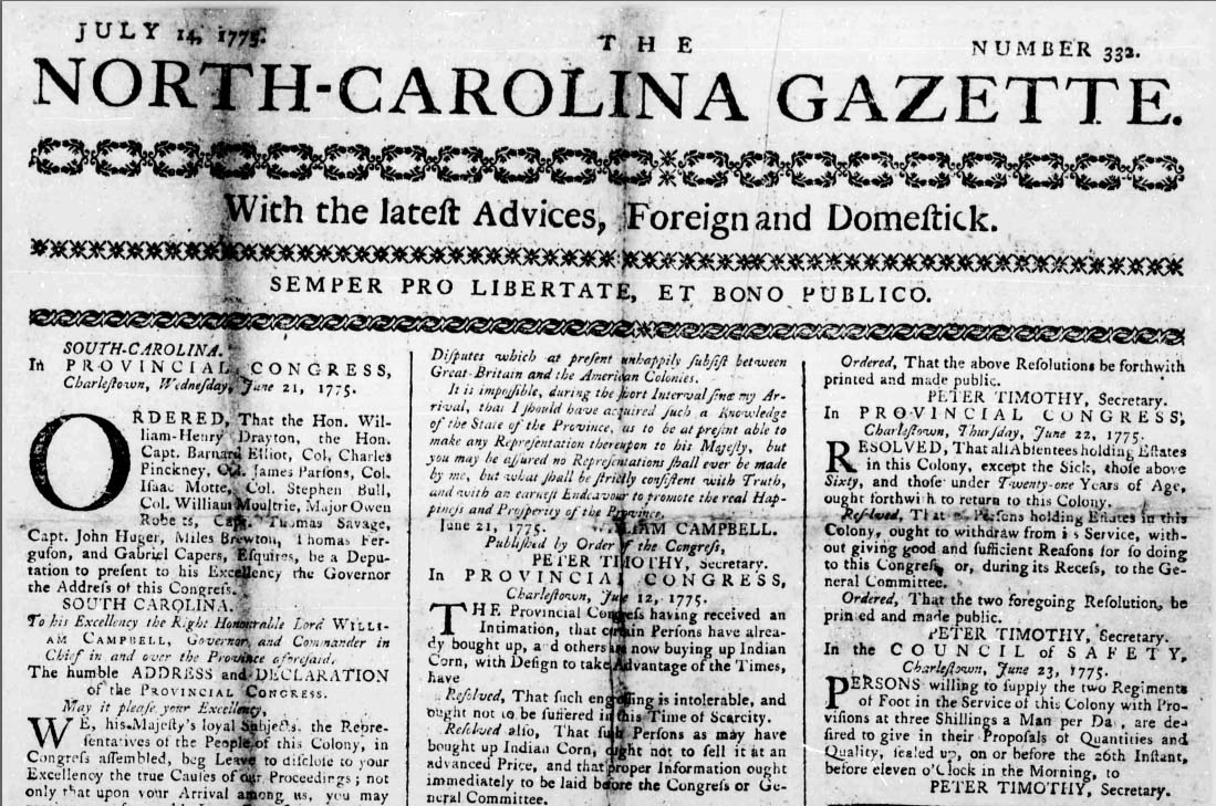Image of the front page of the North Carolina Gazette