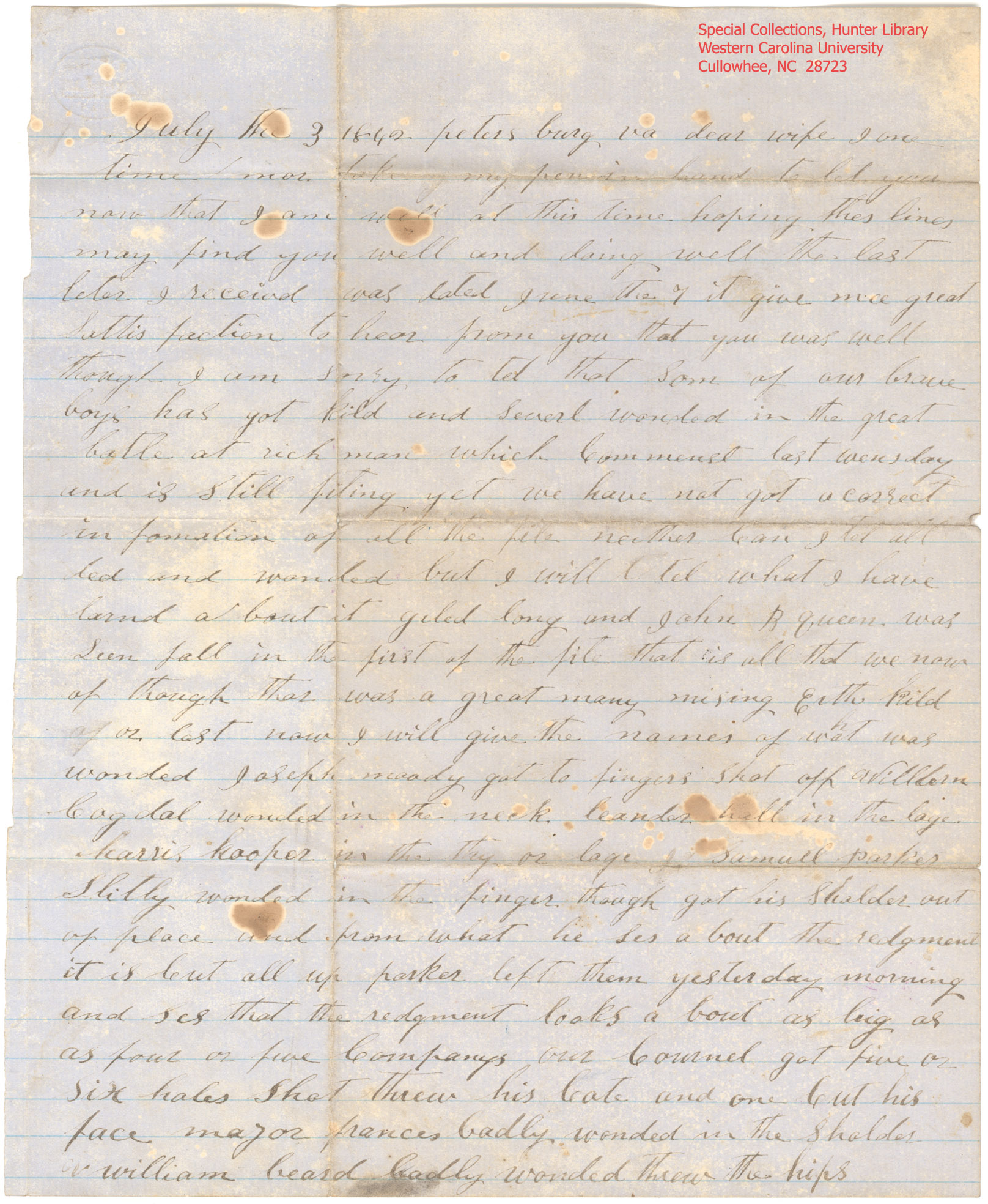 Page 1 of letter from MW Parris to Jane Parris