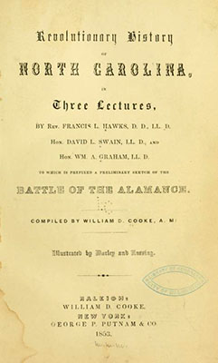 Title page of the 1853 book The Revolutionary History of North Carolina. Some of the published writings and sermons from Herman Husband appeared in the book.
