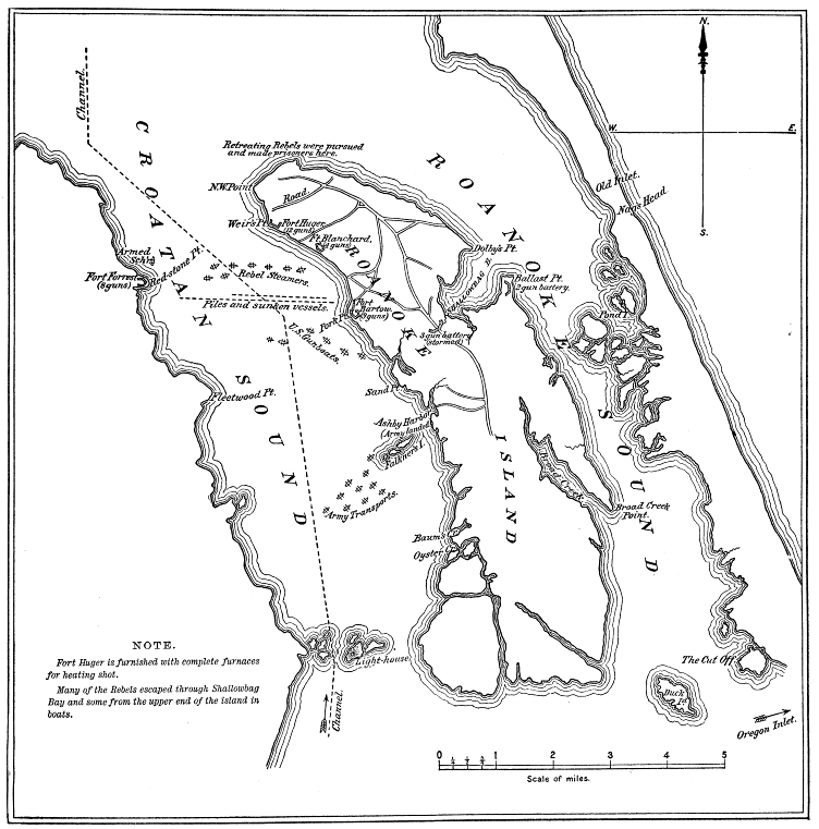 Map of Roanoke Island and Croatan Sound, showing the Confederate forts and the dispositions of the Federal and Confederate fleets, 7 February 1862.