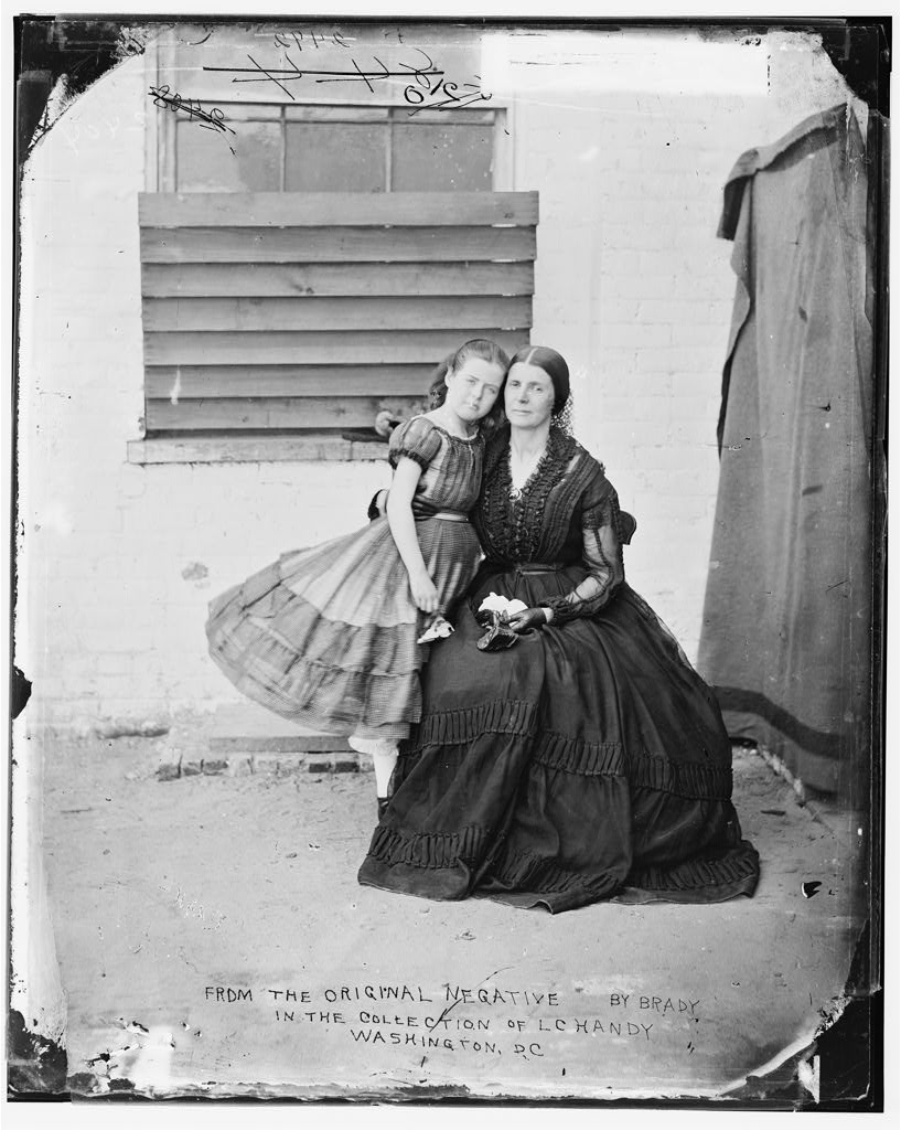 Photograph of Rose O'Neal Greenhow and her daughter taken at the Old Capital Prison during Greenhow's imprisonment there.