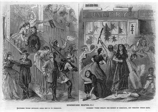 "Before and after pictures of ""Southern women hounding their men on to rebellion"" and ""...feeling the effects of rebellion and creating bread riots""."