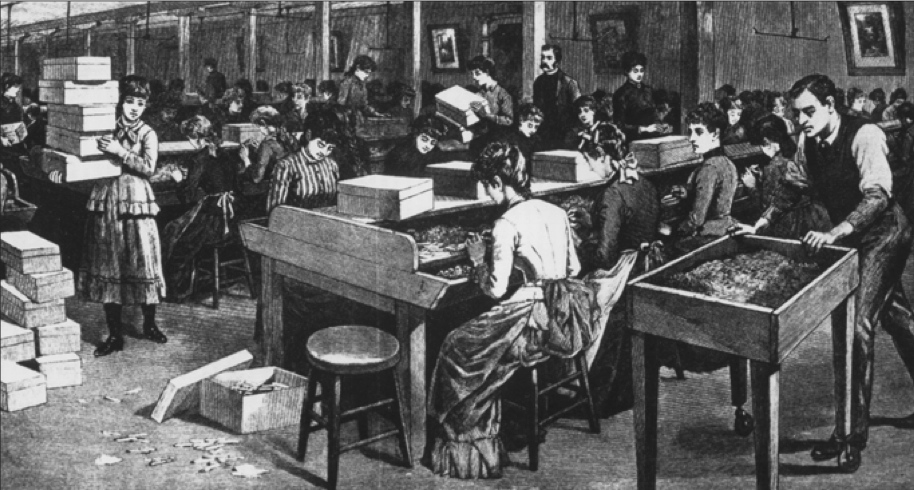 Illustration of women rolling tobacco in a factory, with a man walking by with a cart full of tobacco.