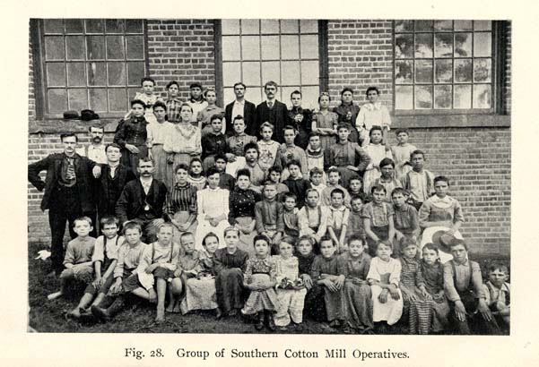 "A ""Group of Southern Cotton Mill Operatives"" poses for an 1899 textbook about cotton mill operations."