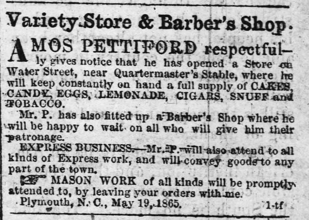 """Amos Pettiford's Variety Store & Barber Shop,"" clipping of advertisement in The Old Flag, published in May 1865."