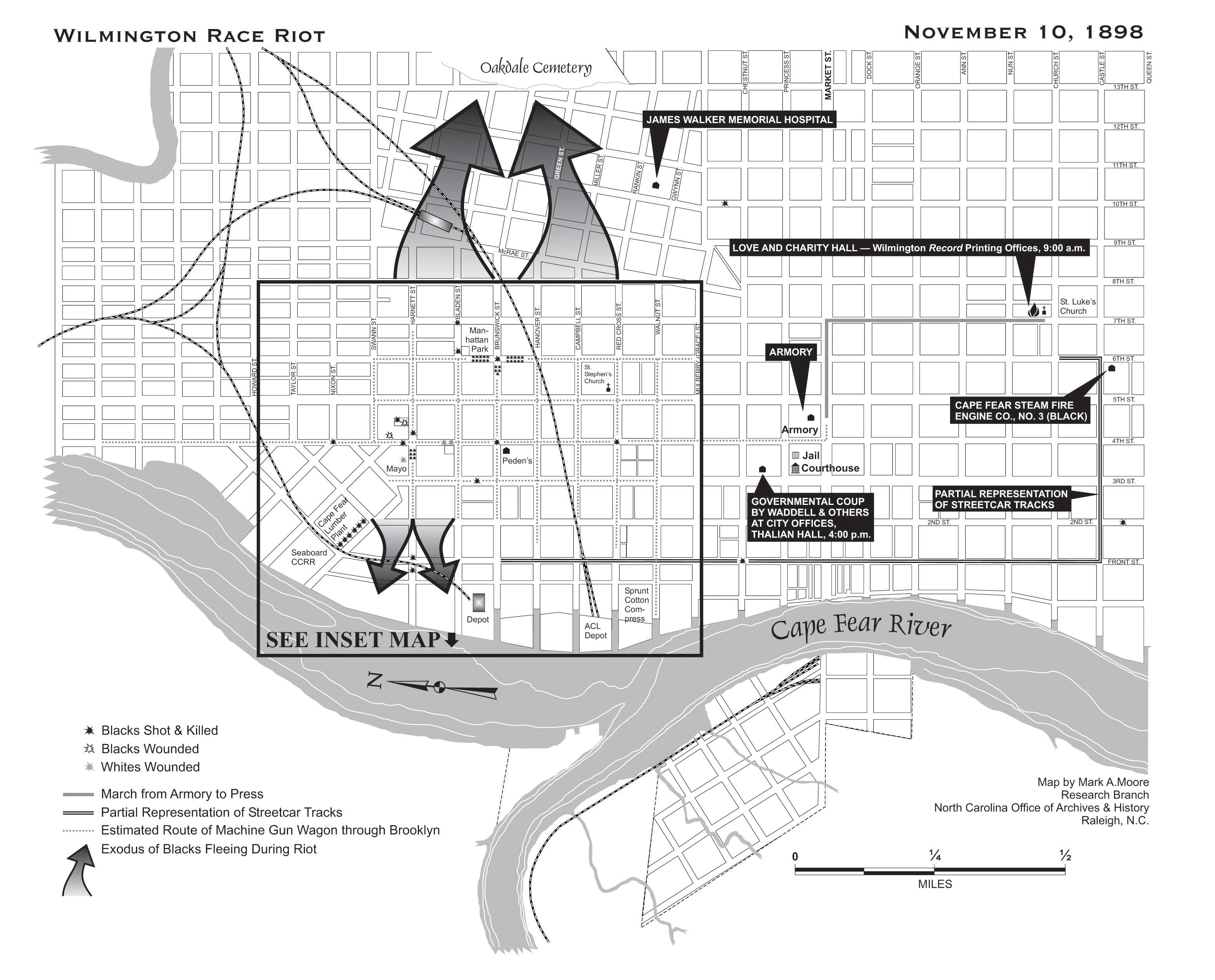 Modern map of the Wilmington Race Riot