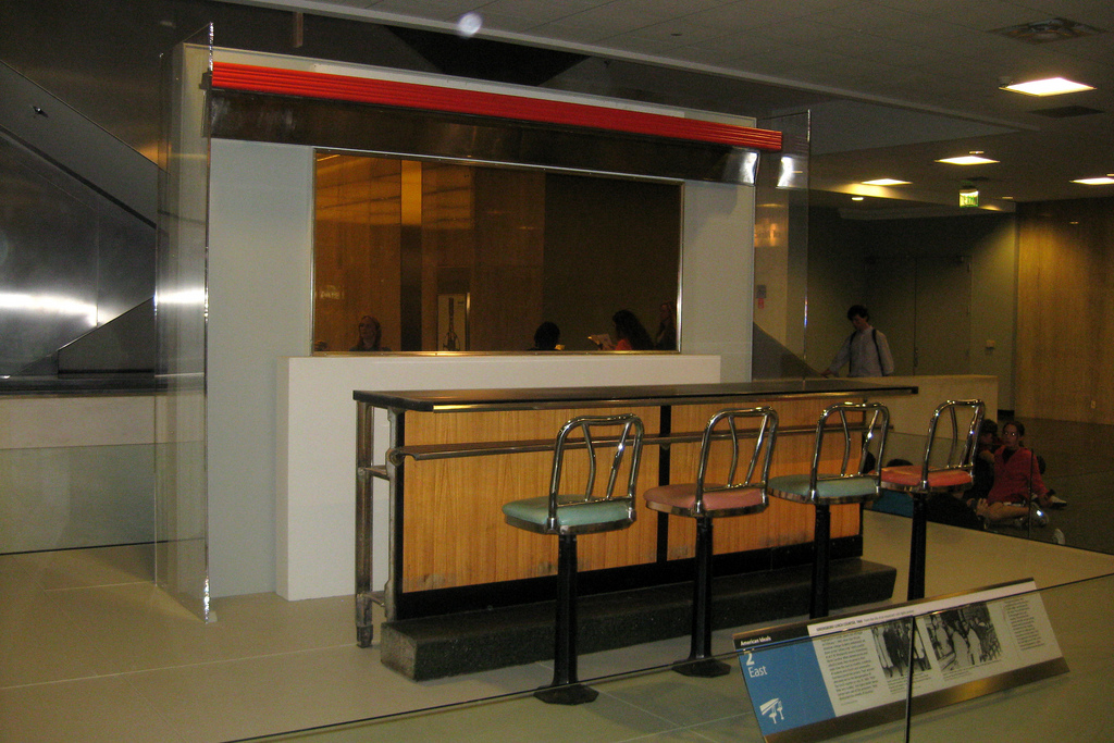 The Greensboro Woolworth counter made famous by the 1960 sit-ins is on display at the National Museum of American History in Washington, D.C.