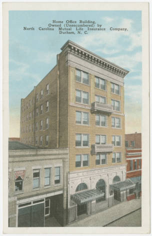 "Postcard image of the North Carolina Mutual Life Insurance Company building, on Parrish Street in Durham, N.C. The company and building were at the heart of the thriving African American business district in Durham that became known as ""Black Wall Street."""