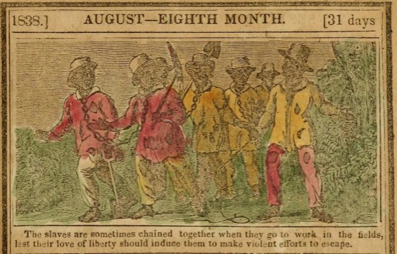 Illustration of slaves in chains, from the August 1838 edition of the American Antislavery Alamanac.