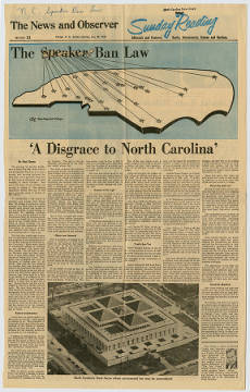 NC playwright, Paul Green, wrote an editorial in 1965 critical of the speaker ban law. It appeared in Raleigh's paper, the News & Observer, on May 30, 1965. Read the editorial from a clipping in the NC Digital Collections.