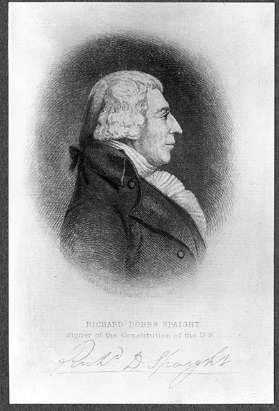 Engraving of Richard Dobbs Spaight. Spaight was the first governor of North Carolina to have been born in the state, as well as a congressman and signer of the U.S. Constitution. He was killed in 1802 during a duel with a political rival, John Stanly. Image courtesy of the Carolina Collection at UNC Libraries.
